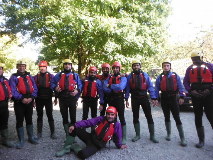 A group of friends pose for photos before setting off ghyll scrambling with Dave's Adventure Company