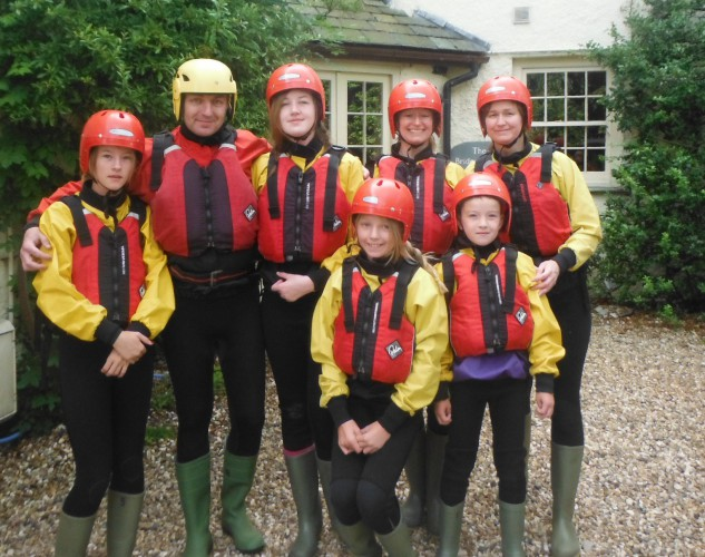 Family group ready for a ghyll scrambling adventure
