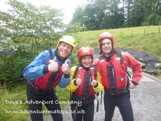 3 people ready to go ghyll scrambling