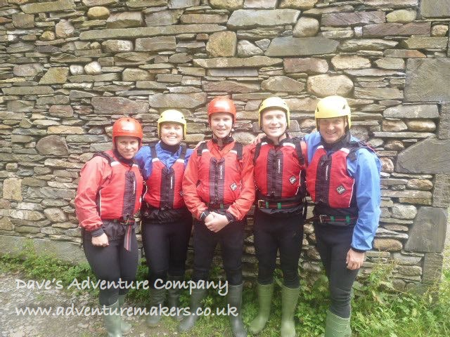 group ready for gorge walking - Church Beck, Coniiston